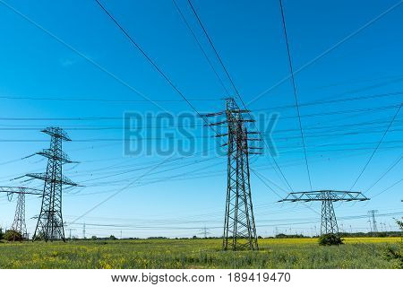 Transmission towers with power lines seen in Germany