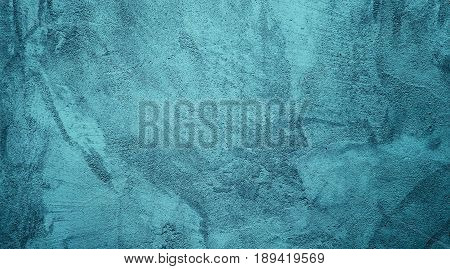 Wonderful Abstract Grunge Decorative Solid Turquoise Stucco Wall Background. Art Rough Stylized Texture Banner With Copy Space