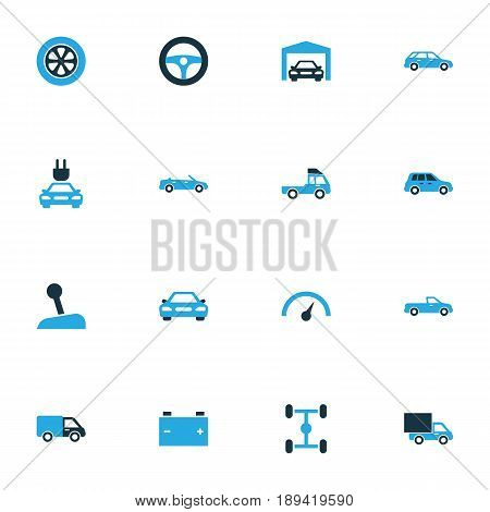 Car Colorful Icons Set. Collection Of Car, Lorry, Station Wagon And Other Elements. Also Includes Symbols Such As Steering, Stick, Cabriolet.