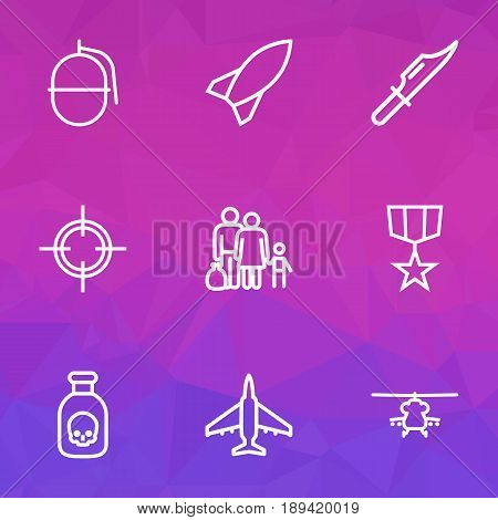 Army Outline Icons Set. Collection Of Target, Fugitive, Military And Other Elements. Also Includes Symbols Such As Bombshell, Plane, Dynamite.
