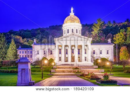 The Vermont State House in Montpelier, Vermont, USA.