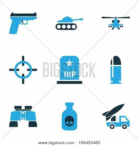 Army Colorful Icons Set. Collection Of Bullet, Binoculars, Tank And Other Elements. Also Includes Symbols Such As Fighter, Firearm, Grave.