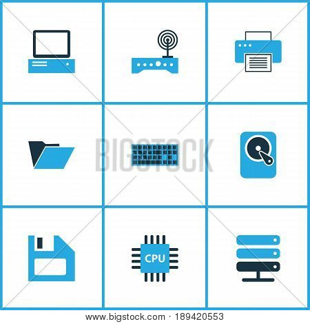 Hardware Colorful Icons Set. Collection Of PC, Winchester, Network And Other Elements. Also Includes Symbols Such As File, Network, Hard.