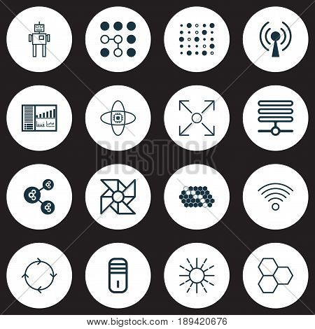 Machine Learning Icons Set. Collection Of Algorithm Illustration, Laptop Ventilator, Lightness Mode And Other Elements. Also Includes Symbols Such As Complex, Wireless, Cells.