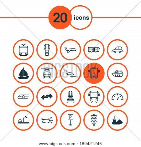 Shipping Icons Set. Collection Of Tanker, Roadsign, Flight Basket And Other Elements. Also Includes Symbols Such As Airplane, Flight, Speed.