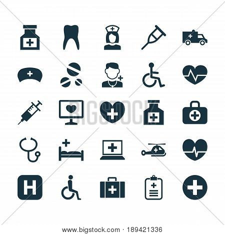 Medicine Icons Set. Collection Of Plus, Painkiller, Heal And Other Elements. Also Includes Symbols Such As Case, Data, Invalid.