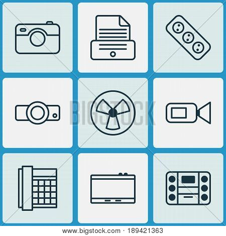 Gadget Icons Set. Collection Of Presentation, Ventilator, Extension Cord And Other Elements. Also Includes Symbols Such As Gadget, Printer, Extension.