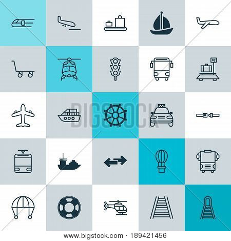 Delivery Icons Set. Collection Of Baggage Carousel, Flight Basket, Boat Helm And Other Elements. Also Includes Symbols Such As Safety, Flight, Airplane.