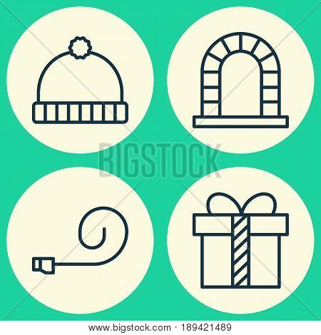 Holiday Icons Set. Collection Of Gift, Arch, Knitted Cap And Other Elements. Also Includes Symbols Such As Chimney, Fireplace, Whistle.