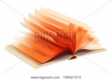 Opened golden book 3D rendering isolated on white background