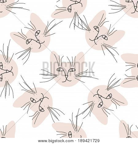 Seamless pattern with cute cat muzzles. Vector illustration.
