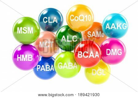 Set of amino acids. AAKG ALC BCAA CLA CoQ10 GABA DGL HMB MCT MSM SAMe DMG PABA 3D rendering isolated on white background