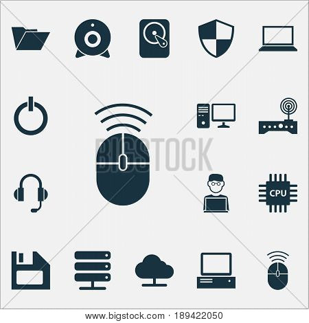 Computer Icons Set. Collection Of Diskette, Defense, Database And Other Elements. Also Includes Symbols Such As Power, Hdd, Modem.