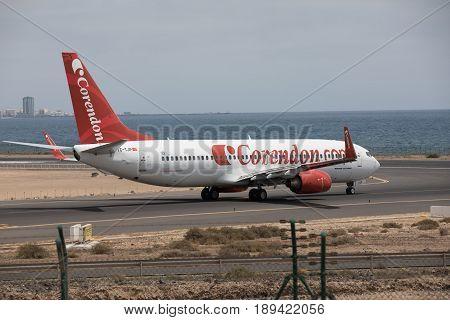 Arecife, Spain - April, 15 2017: Boeing 737 - 800 Of Corendon.com Lanzarote Airport