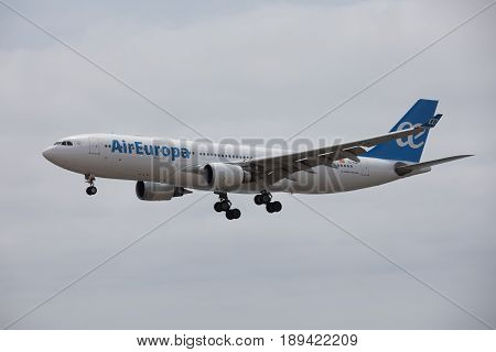 Arecife, Spain - April, 15 2017: Airbus A330-200 Of Aireuropa Landing At Lanzarote Airport