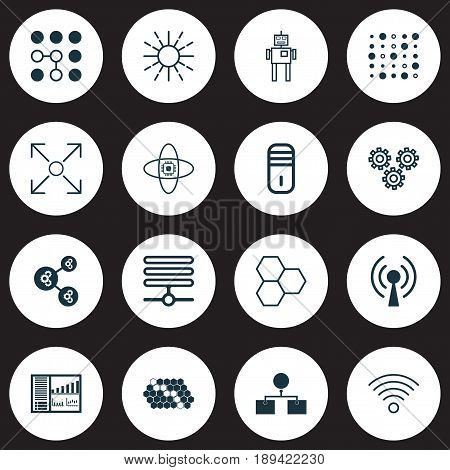 Machine Learning Icons Set. Collection Of Mechanism Parts, Cyborg, Controlling Board And Other Elements. Also Includes Symbols Such As Wireless, Processor, Design.