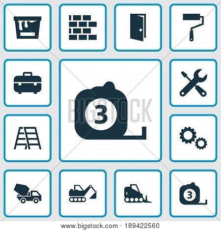 Building Icons Set. Collection Of Equipment, Digger, Cement Vehicle And Other Elements. Also Includes Symbols Such As Brick, Gear, Mechanism.