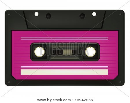 Audio Cassette isolated on White Background. Vector.