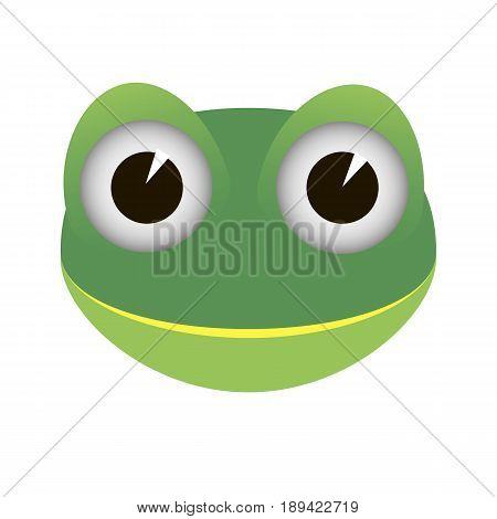 Cartoon funny green frog icon on white background