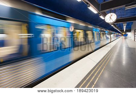 Train in Stockholm underground metro station Sweden Scandinavia Europe