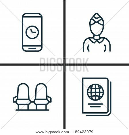 Transportation Icons Set. Collection Of Armchair, Identification Document, Call Duration And Other Elements. Also Includes Symbols Such As Mobile, Citizenship, Document.