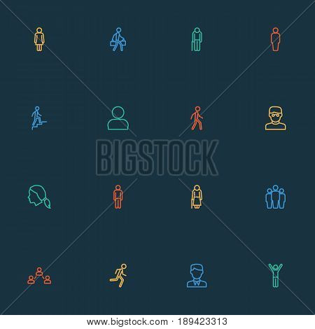 Human Outline Icons Set. Collection Of Social Relations, Female, Team And Other Elements. Also Includes Symbols Such As Run, Head, Graybeard.