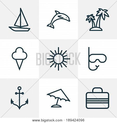 Hot Outline Icons Set. Collection Of Baggage, Ice Cream, Palm And Other Elements. Also Includes Symbols Such As Mammal, Baggage, Boat.
