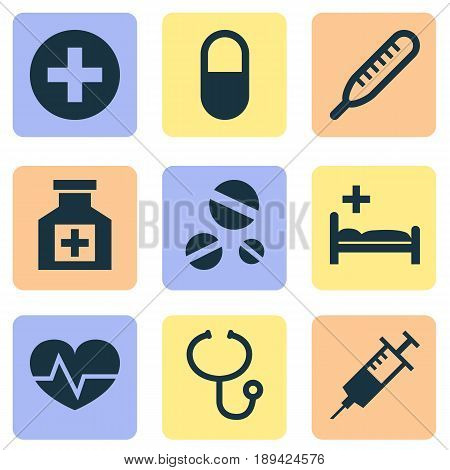Drug Icons Set. Collection Of Pellet, Cure, Injection And Other Elements. Also Includes Symbols Such As Mercury, Instrument, Injection.