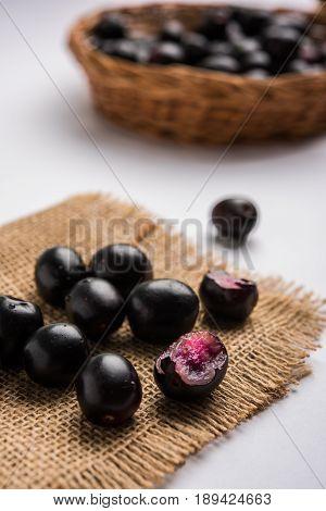 Jambolan plum or jambhul or jamun fruit, Java plum (Syzygium cumini) poster
