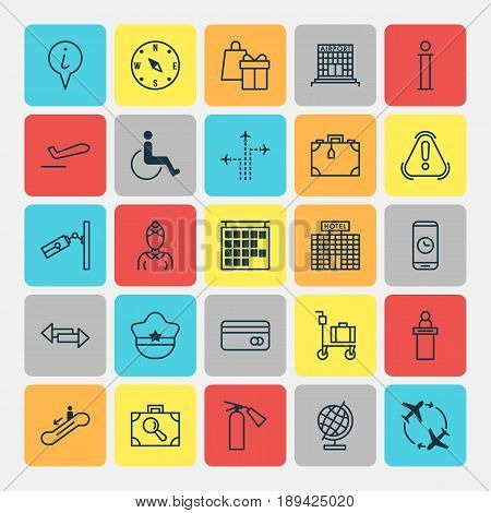 Traveling Icons Set. Collection Of Accessibility, Hostess, Suitcase Pushcart And Other Elements. Also Includes Symbols Such As Gift, Time, Mobile.