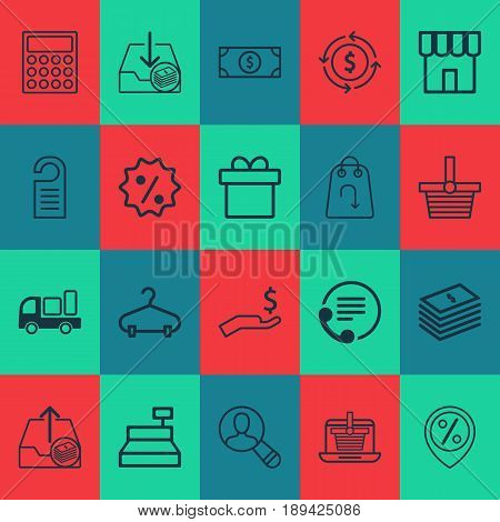 Ecommerce Icons Set. Collection Of Telephone, Peg, Withdraw Money And Other Elements. Also Includes Symbols Such As Paid, Shop, Peg.