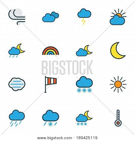 Climate Colorful Outline Icons Set. Collection Of Overcast Weather, Snowing, Windy And Other Elements. Also Includes Symbols Such As Sunlight, Nimbus, Rain.