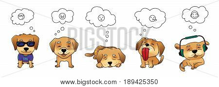 Set of of dog emotions, thought bubbles, vector isolated on white background