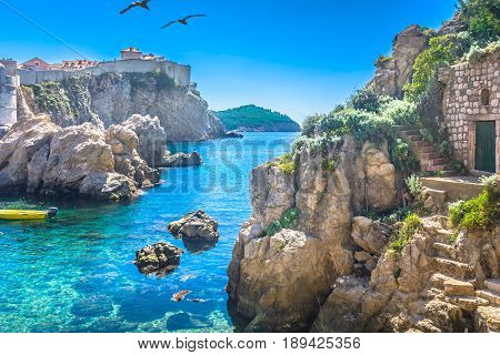 Marble adriatic bay in Dubrovnik riviera scenery, Croatia.