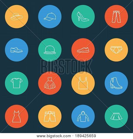 Garment Outline Icons Set. Collection Of Heels, Pants, Fedora And Other Elements. Also Includes Symbols Such As Cap, Boots, Evening.