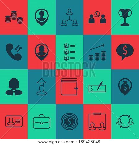 Human Icons Set. Collection Of Cellular Data, Pin Employee, Briefcase And Other Elements. Also Includes Symbols Such As Applicants, Conference, Coins.