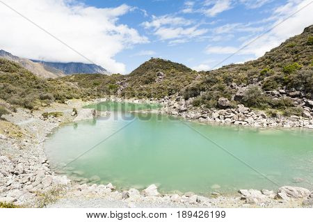 Green lake under the Mount Cook, Aoraki National Park, New Zealand.