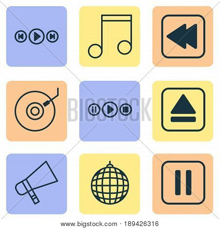 Multimedia Icons Set. Collection Of Rewind Back, Audio Buttons, Song UI And Other Elements. Also Includes Symbols Such As Megaphone, Melody, Music.