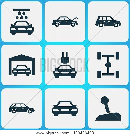 Automobile Icons Set. Collection Of Car, Transport Cleaning, Repairing And Other Elements. Also Includes Symbols Such As Station, Electric, Lever.