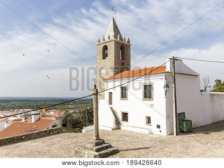 stone pillory, the former prison and tower bell in Cabeco de Vide town, Fronteira, Portalegre District, Portugal