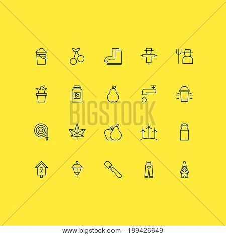 Gardening Icons Set. Collection Of Dwarf, Bugbear, Spigot And Other Elements. Also Includes Symbols Such As Bugaboo, Lamp, Milk.