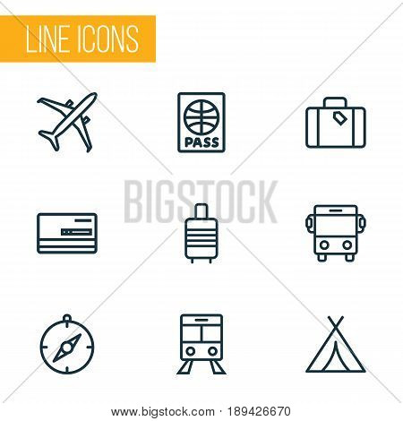 Traveling Outline Icons Set. Collection Of Plane, Luggage, Suitcase And Other Elements. Also Includes Symbols Such As Auto, Shed, Tram.