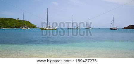 Antigua, Caribbean islands, English Harbour - May 20, 2017:  Freeman's bay view with youths