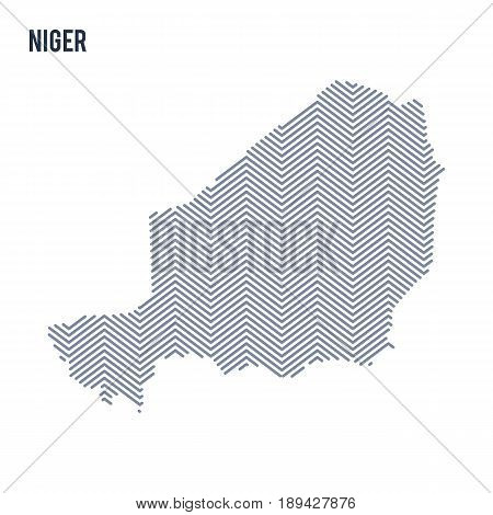 Vector Abstract Hatched Map Of Niger Isolated On A White Background.