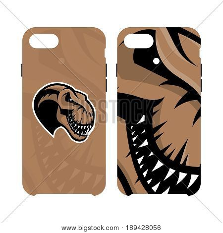 Furious dinosaur sport club vector logo concept smart phone case isolated on white background.Modern professional team badge mascot design. Premium quality wild reptile cell phone cover illustration.