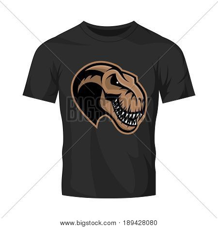 Dinosaur head sport club vector logo concept isolated on black t-shirt mockup. Modern team badge mascot design.Premium quality wild reptile t-shirt tee print illustration. Monster professional icon.
