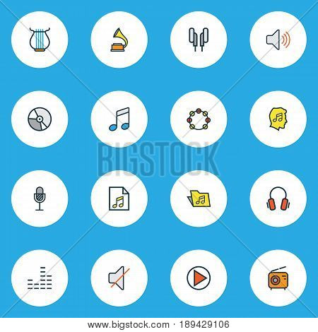 Multimedia Colorful Outline Icons Set. Collection Of Mute, Set, Volume And Other Elements. Also Includes Symbols Such As Start, Harp, Package.