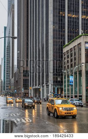 Taxi On The Streets Of Manhattan On A Rainy Day