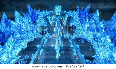 3d render of a magical ice queen
