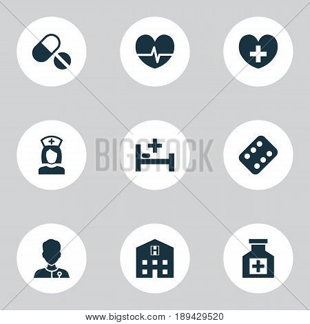Drug Icons Set. Collection Of Tent, Remedy, Heal And Other Elements. Also Includes Symbols Such As Remedy, Painkiller, Heartbeat.